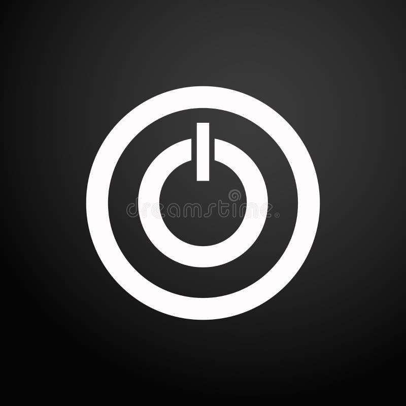 Zaczyna ikona wektoru ilustrację Władza znak puszek ikona zamyka Władza guzika logo na czarnego kwadrata tle ilustracji