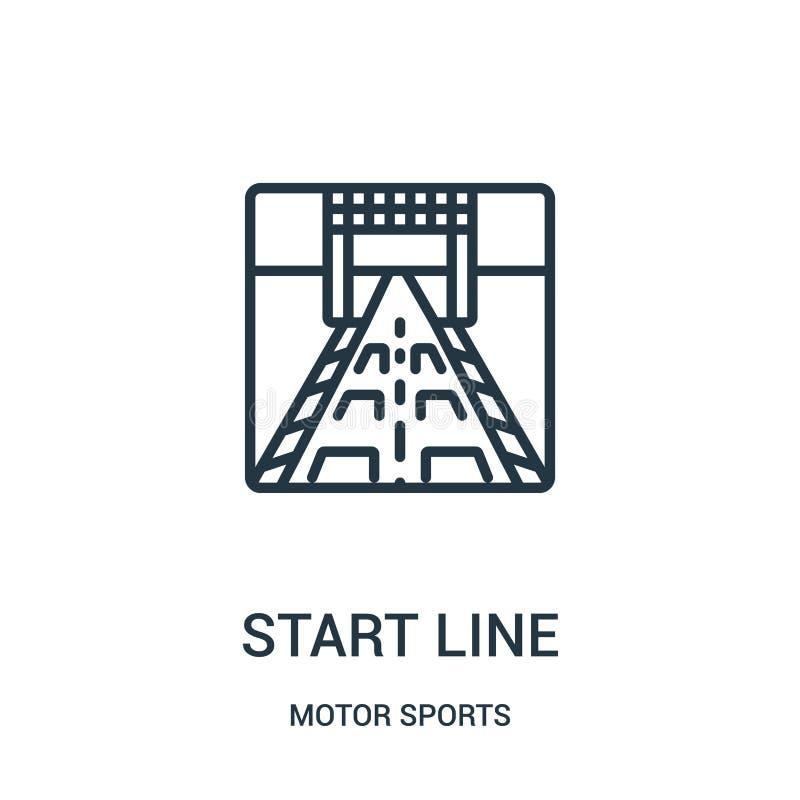 zaczyna kreskowego ikona wektor od motorowych sportów inkasowych Cienka kreskowa początek linii konturu ikony wektoru ilustracja  ilustracji