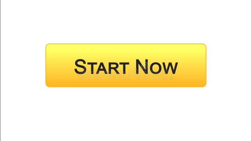 Zaczyna teraz sieć interfejsu guzika pomarańczowego kolor, rozwój biznesu, innowacja ilustracja wektor
