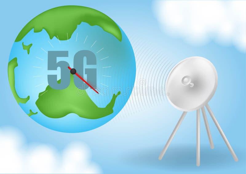 Zaczyna up rakiet? Dymne chmury Sieci bezprzewodowej pr?dko?ci poj?cie, 5G ewolucja Globalny na b??kitnym tle Realistyczny wektor ilustracja wektor