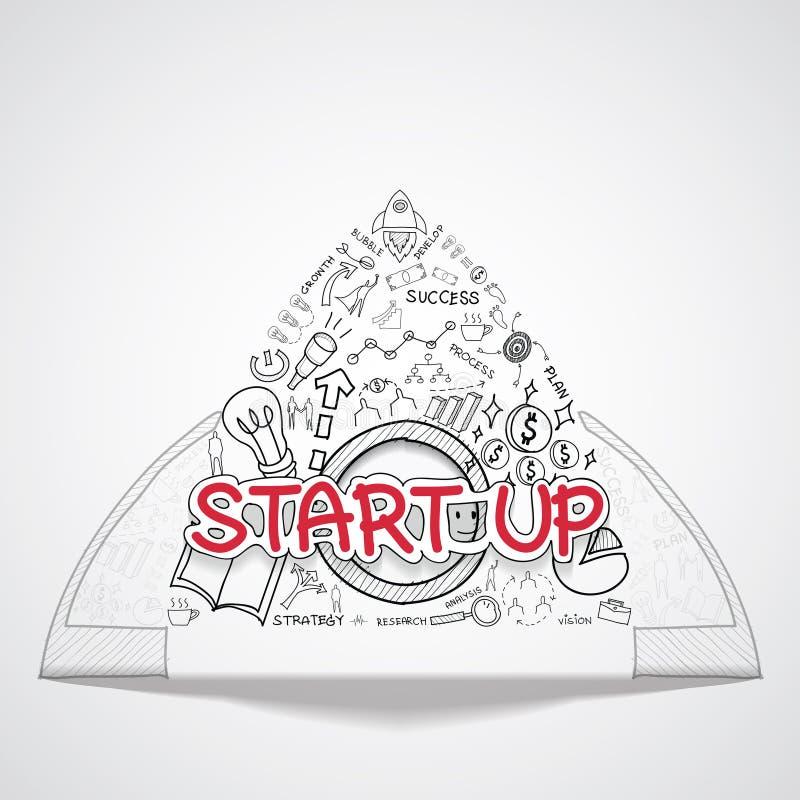 Zaczyna up tekst, Z kreatywnie rysunków wykresów i map biznesowego sukcesu strategii planu pomysłem, inspiraci pojęcia nowożytneg ilustracja wektor