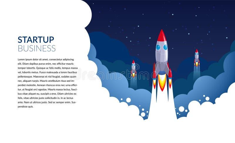 Zaczyna W górę biznes rakiety wektorowej ilustracji dla astronautycznych sztandarów lub plakatów w wektorowym formacie zdjęcia stock