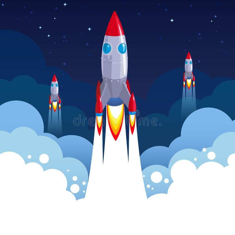 Zaczyna W górę biznes rakiety wektorowej ilustracji dla astronautycznych sztandarów lub plakatów w wektorowym formacie obrazy stock