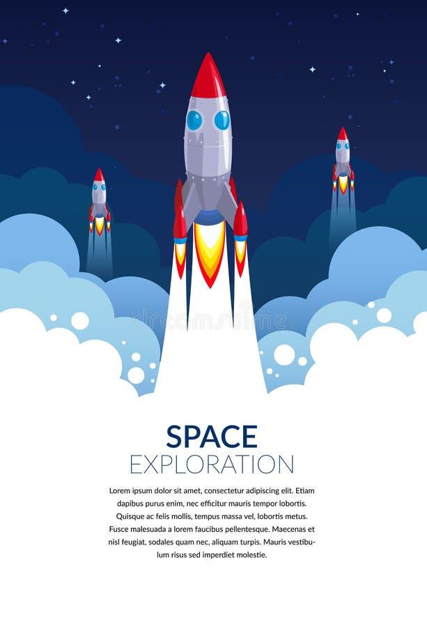 Zaczyna W górę biznes rakiety wektorowej ilustracji dla astronautycznych sztandarów lub plakatów w wektorowym formacie zdjęcia royalty free