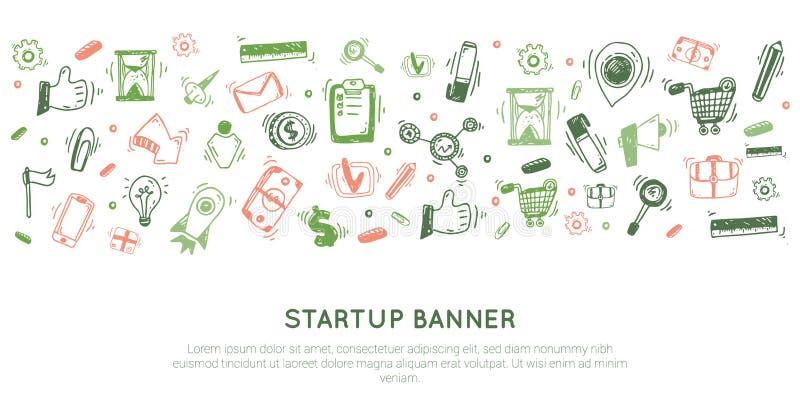 Zaczyna w górę chodnikowa sztandaru doodle równiny linii projekta ilustracyjnego wektorowego nowożytnego składu z infographics el ilustracja wektor