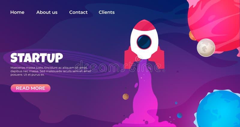 Zaczyna w górę lądowanie strony Strona internetowa projekta szablony dla rozpoczęcia Wektoru 3d nowożytnego projekta rozwoju stro ilustracja wektor