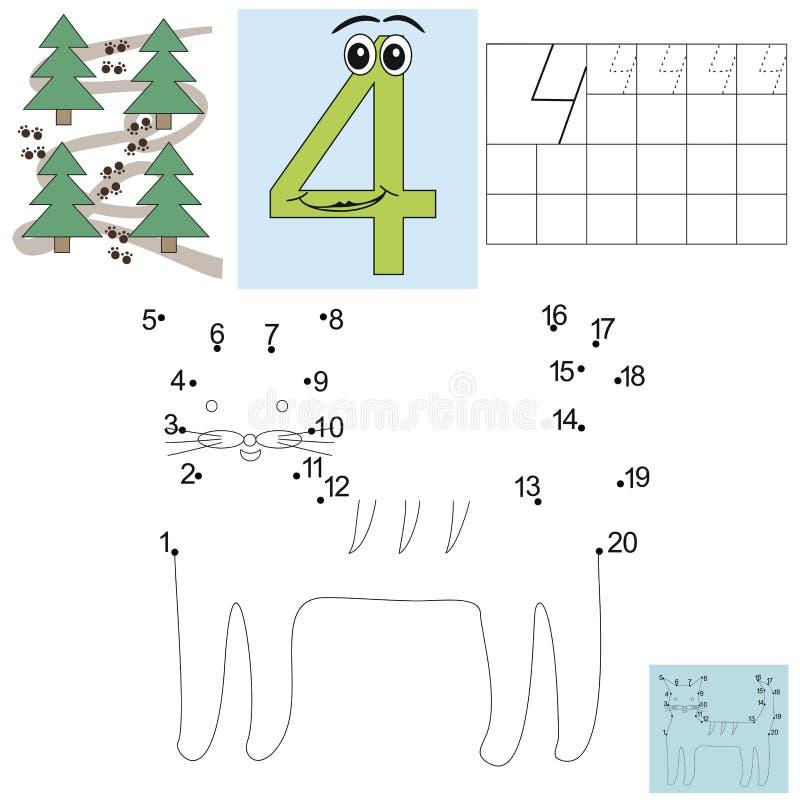 Zadanie dla dzieci w mathematics postać cztery Łączy kropki i barwi kota ilustracji