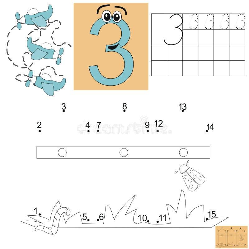Zadanie dla dzieci w mathematics Postać trzy Łączy kropki i maluje ogrodzenie royalty ilustracja
