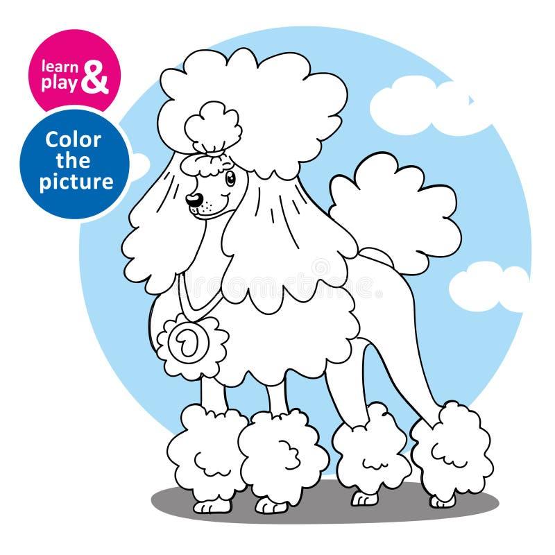 Zadanie dla dziecko farby pudla z koloru piórem Czaruje przygotowywającego pudla z medalem i fryzurą Psia nakreślenie kolorystyki ilustracji