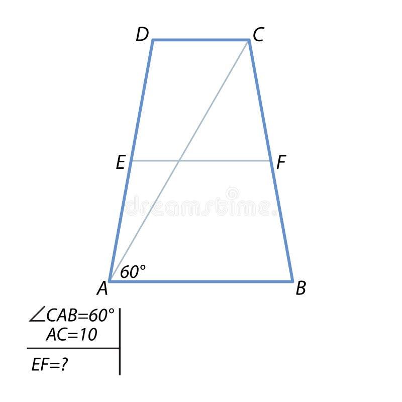 Zadanie znajdować środkową linię trapezoid ilustracja wektor