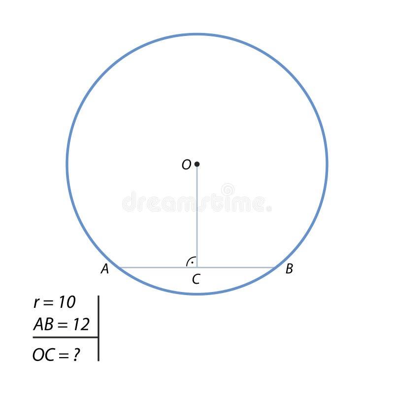 Zadanie znajdować odległość od centrum okrąg akord ilustracji