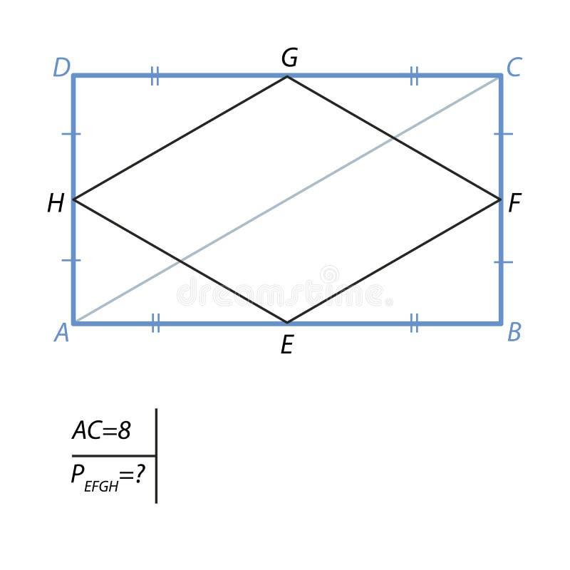Zadanie znajdować perymetr czterościenny w prostokącie royalty ilustracja