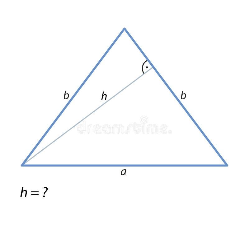 Zadanie znajdować wzrost równoramienny triangle-01 ilustracja wektor