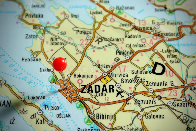zadar克罗地亚的映射 库存照片