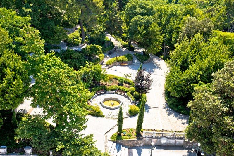Zadar πέντε εναέρια άποψη πάρκων φρεατίων τετραγωνική και πράσινη στοκ εικόνα με δικαίωμα ελεύθερης χρήσης