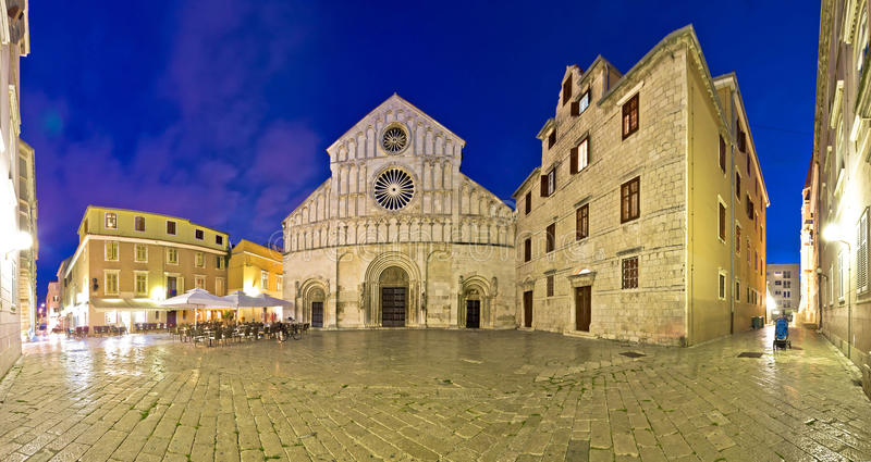 Zadar cathedral square night view royalty free stock photo