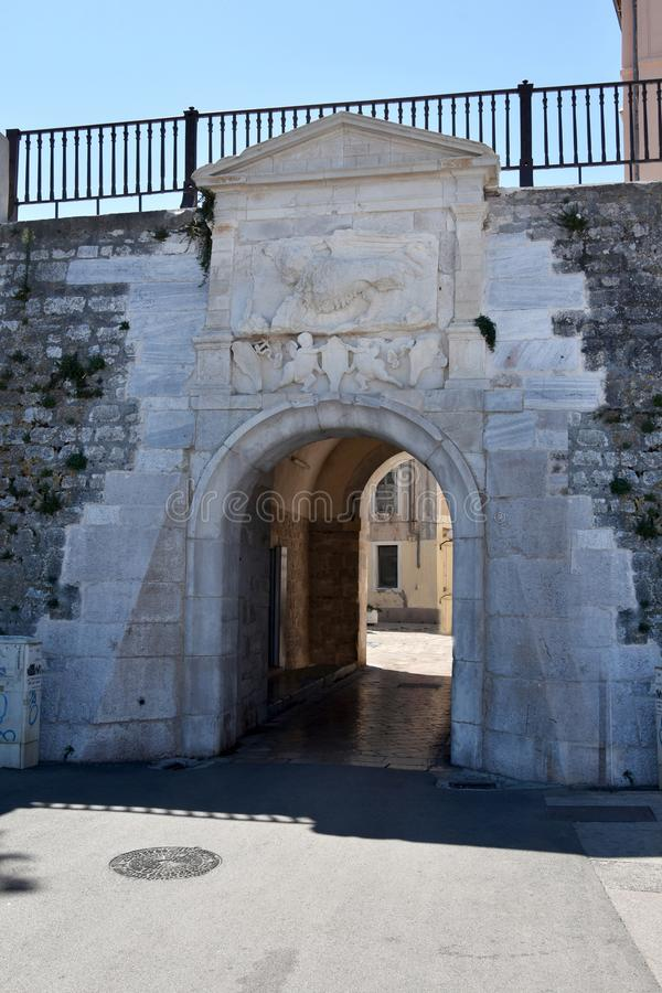 Zadar city wall. Opening in the ancient city wall, entrance for pedestrians to the city of Zadar stock photo