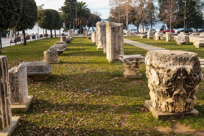 Zadar. Croatia. Ancient columns on the roman forum in Zadar. Croatia royalty free stock photo