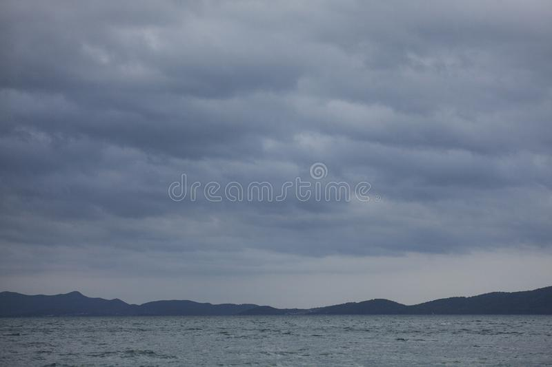 Zadar, Croatia, Europe - the sea and cloudy skies. This image shows a view of a blue sea and some cloudy skies in Zadar, Croatia, Europe. It was taken in May royalty free stock photos