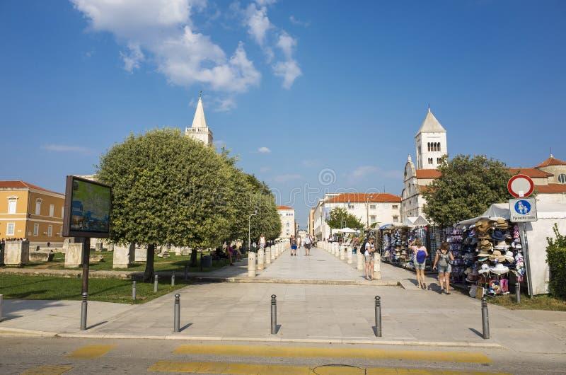 Nice sunny day in city of Zadar Croatia. Zadar / Croatia - 16 09 2019, Nice sunny day in the city, People walking outdoor stock photography