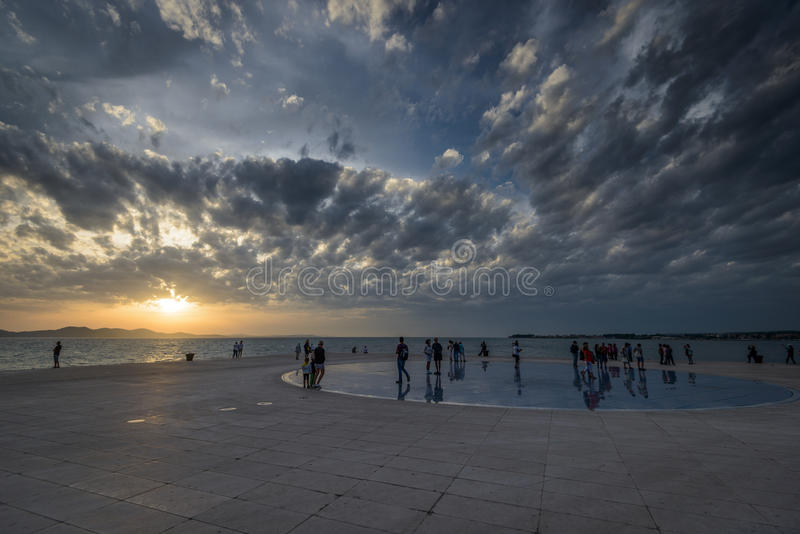 Zadar. CROATIA - Oct 14: Greeting to the Sun, designed by architect Nikola Basic. It consists of 300 multilayer glass panels in form of a 22 m diameter circle stock images