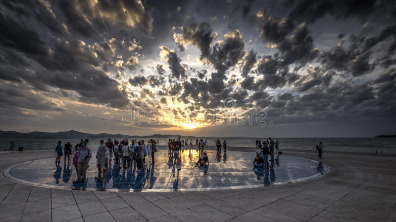 Zadar. CROATIA - Oct 14: Greeting to the Sun, designed by architect Nikola Basic. It consists of 300 multilayer glass panels in form of a 22 m diameter circle stock image