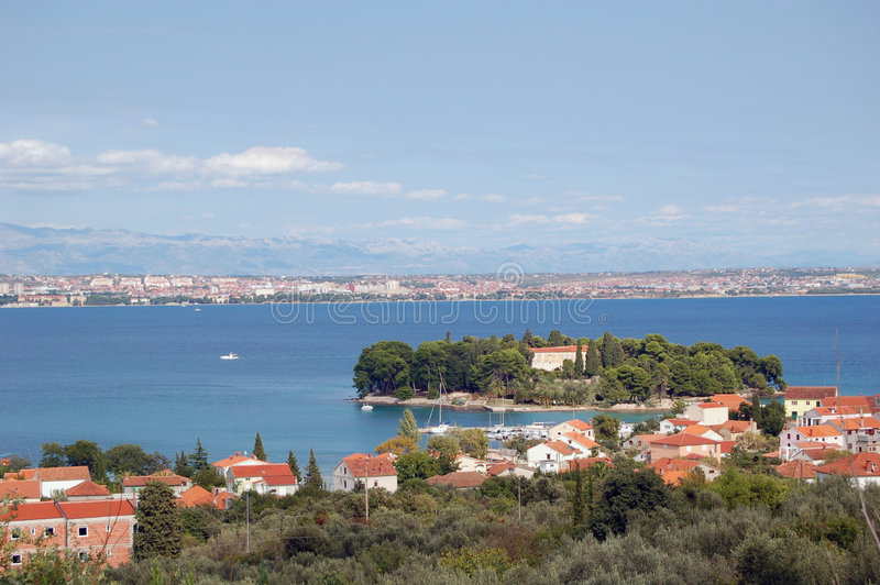 Zadar island coast. View of Zadar coast from Preko (island Ugljan) - very famous holiday destignation on the Adriatic sea, Croatia stock photo