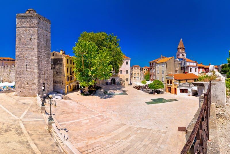 Zadar Vijf panorama van de putten het vierkante en historische architectuur royalty-vrije stock fotografie