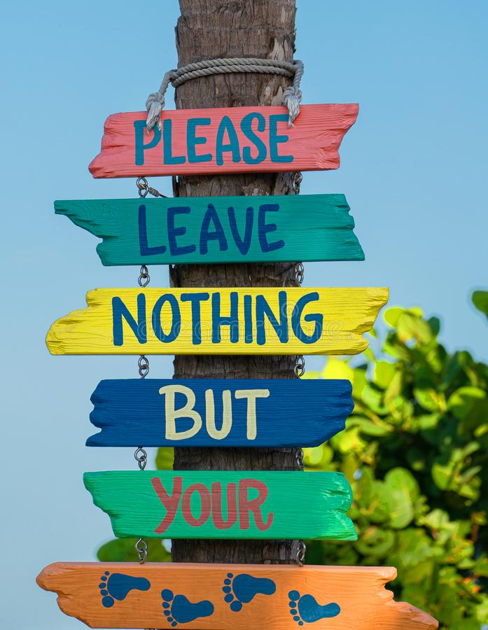 Zadawala urlop Nic Tylko Twój odcisku stopego znak, Indiańska skały plaża, Floryda zdjęcia royalty free
