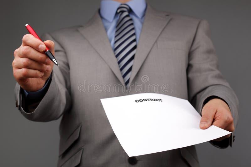 Zadawala znaka kontrakt zdjęcia stock