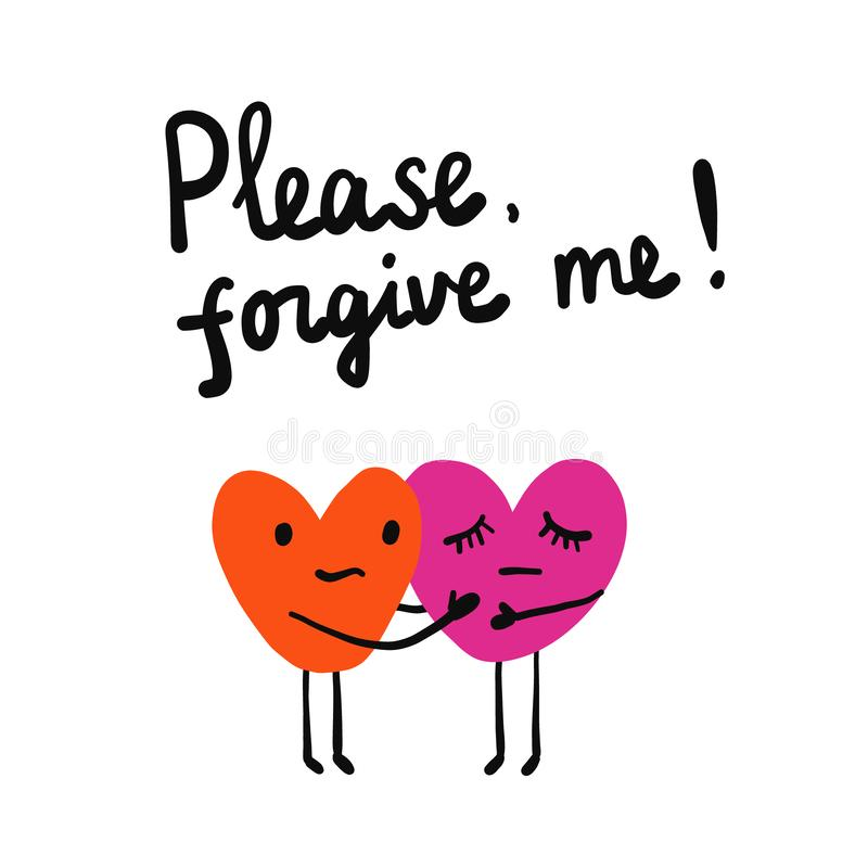 Zadawalam wybacza ja lettring ilustrację z dwa sercami trzyma each inny dla druków plakatów sztandarów i tshirts ilustracji