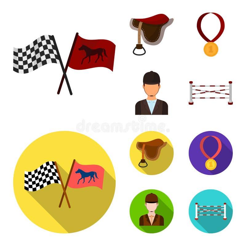 Zadel, medaille, kampioen, winnaar Renbaan en paard vastgestelde inzamelingspictogrammen in beeldverhaal, de vlakke voorraad van  vector illustratie