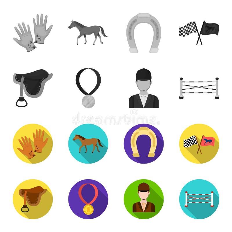 Zadel, medaille, kampioen, winnaar Renbaan en paard vastgestelde inzamelingspictogrammen in de zwart-wit, vlakke voorraad van het stock illustratie