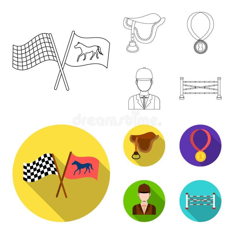 Zadel, medaille, kampioen, winnaar Renbaan en paard vastgestelde inzamelingspictogrammen in overzicht, de vlakke voorraad van het royalty-vrije illustratie