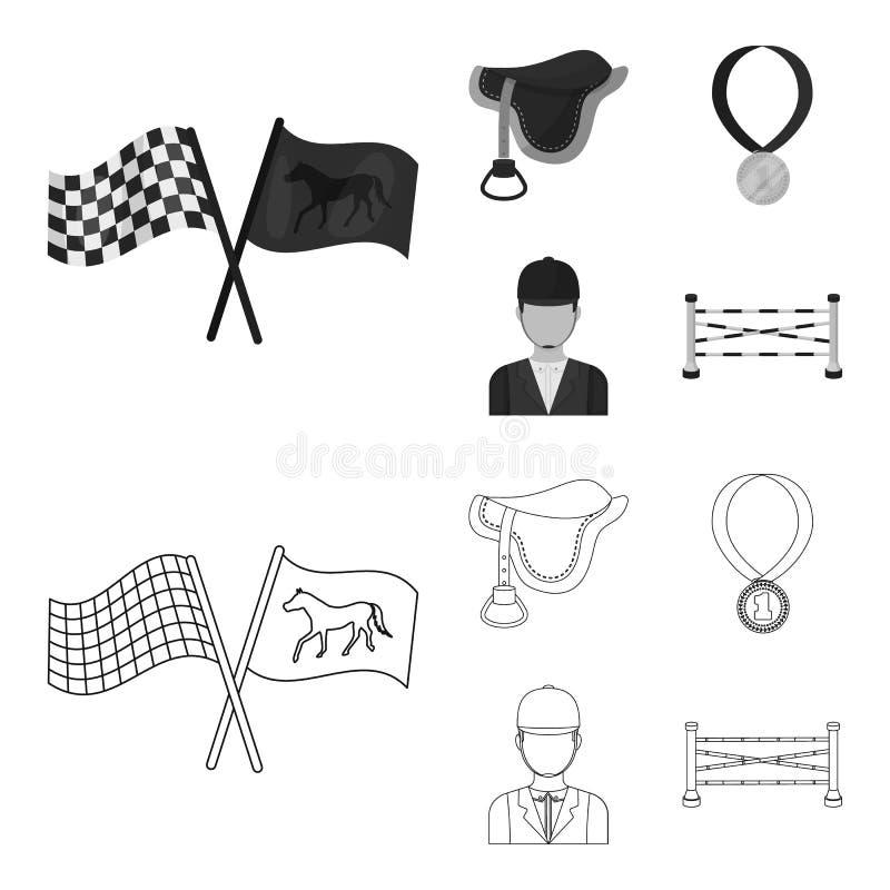 Zadel, medaille, kampioen, winnaar Renbaan en paard vastgestelde inzamelingspictogrammen in overzicht, zwart-wit stijl vectorsymb royalty-vrije illustratie