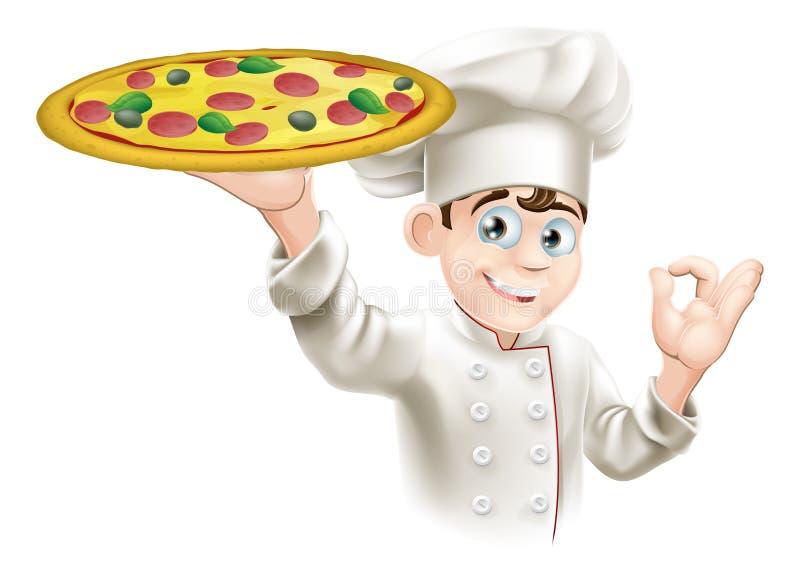 Zadowalająca Szyldowa Pizzy Szef kuchni Ilustracja ilustracja wektor