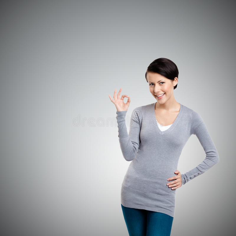 Zadowalający gest Od laptopu ekranu środek błękitny ogólnospołeczna ręka obraz royalty free
