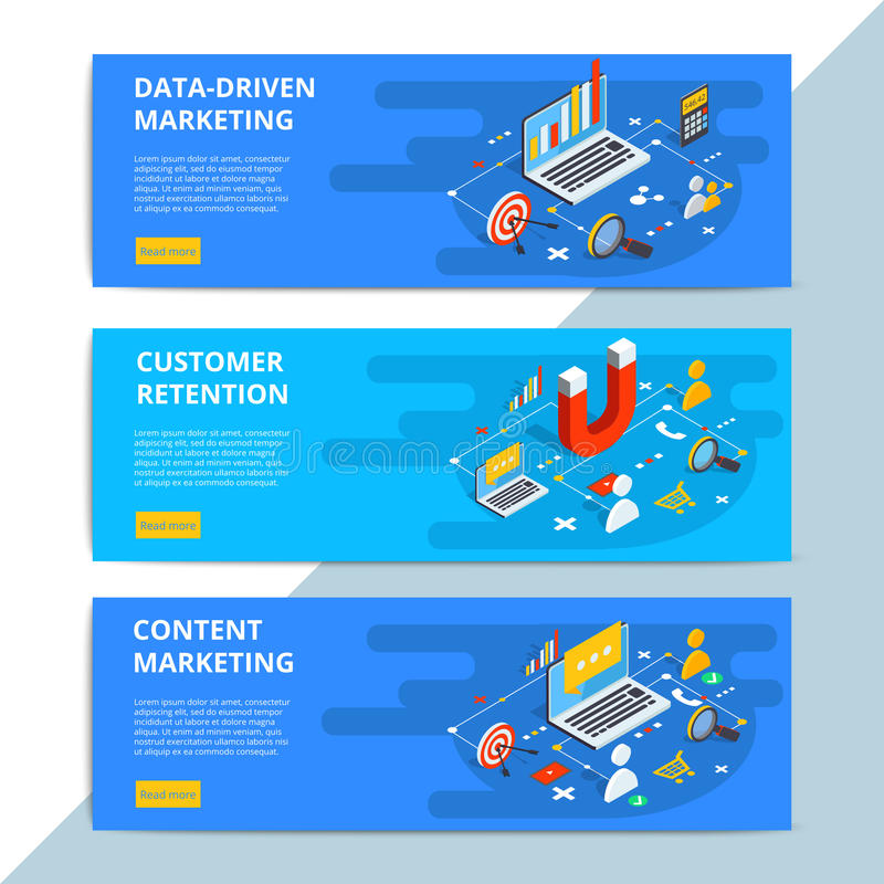 Zadowoleni marketingowi isometric wektorowi sieć sztandary Biznesowy sprzedaży st ilustracji