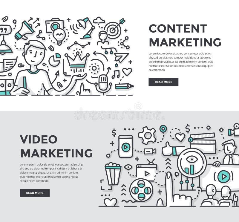Zadowoleni & Wideo marketingu Doodle sztandary ilustracja wektor