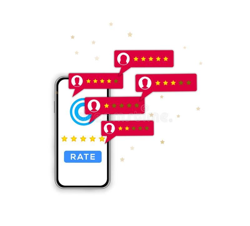 Zadowolenie klienta przeglądowy pojęcie 5 gwiazdowa ocena, informacje zwrotne cenienie, usługowa ilość na smartphone ekranie odiz ilustracji