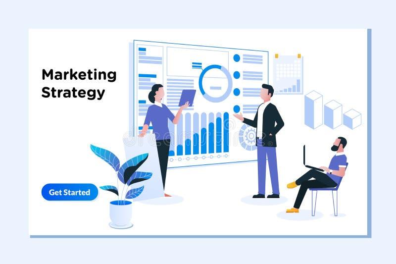 Zadowolona strategia marketingowa, Cyfrowego marketing i Biznesowa analiza, ilustracja wektor