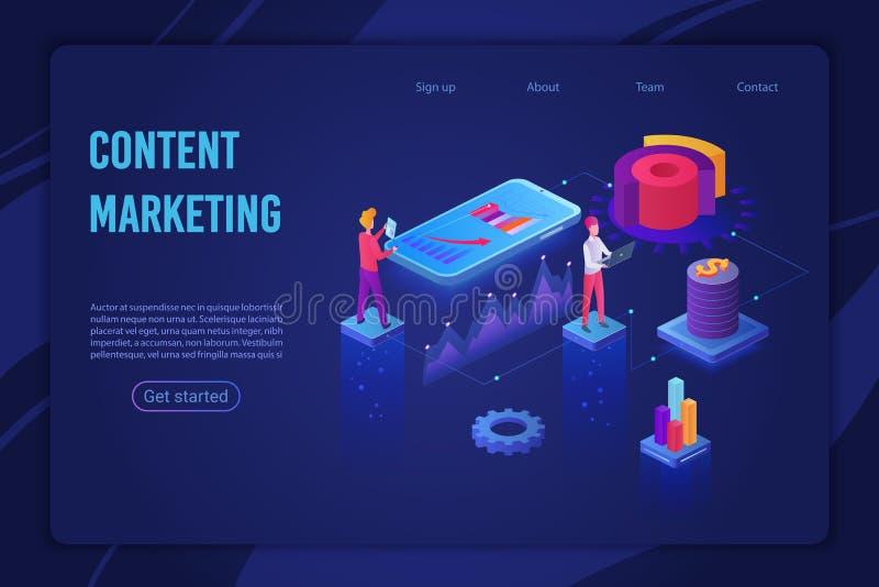 Zadowolona strategia marketingowa ląduje strona isometric wektorowego szablon royalty ilustracja