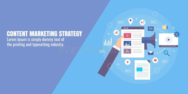 Zadowolona strategia marketingowa - treści cyfrowe promocja, optymalizacja, publikuje, tworzenia pojęcie Płaski projekta sztandar royalty ilustracja