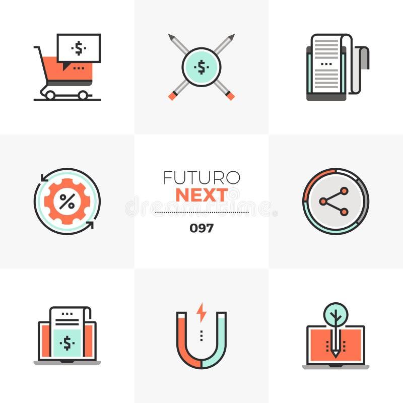 Zadowolone Marketingowe Futuro Następne ikony ilustracja wektor