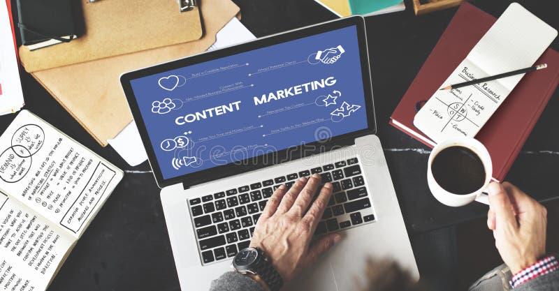 Zadowolonej strategii marketingowej Planistyczny pojęcie zdjęcie royalty free