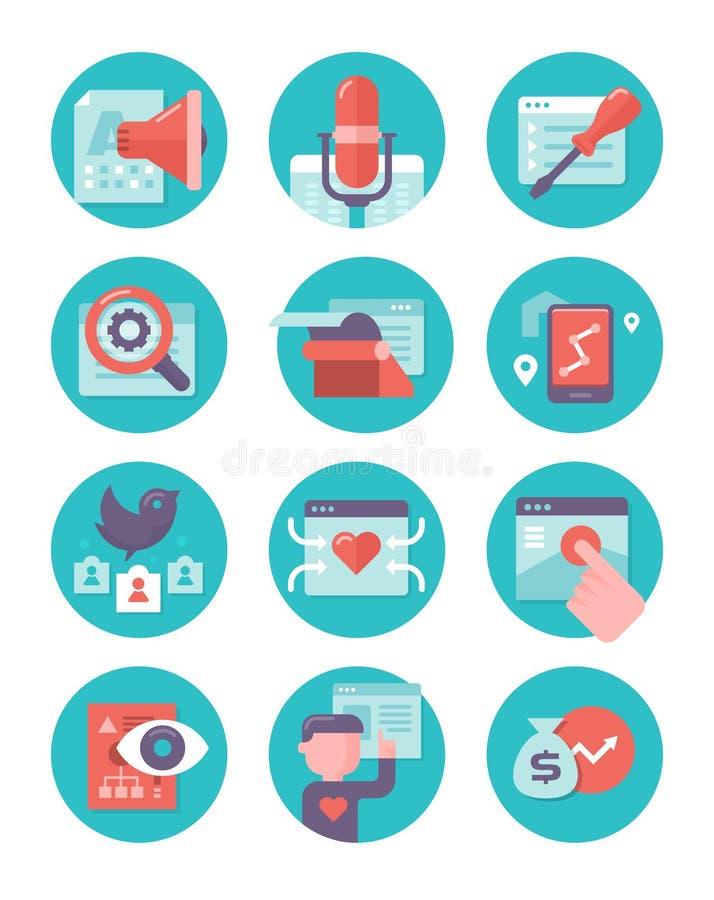 Zadowolony marketing i SEO ikony ilustracji