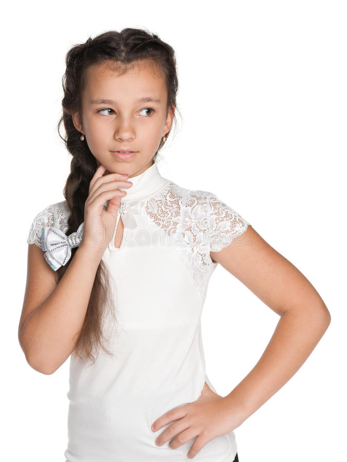 Zadumana ładna młoda dziewczyna zdjęcie royalty free