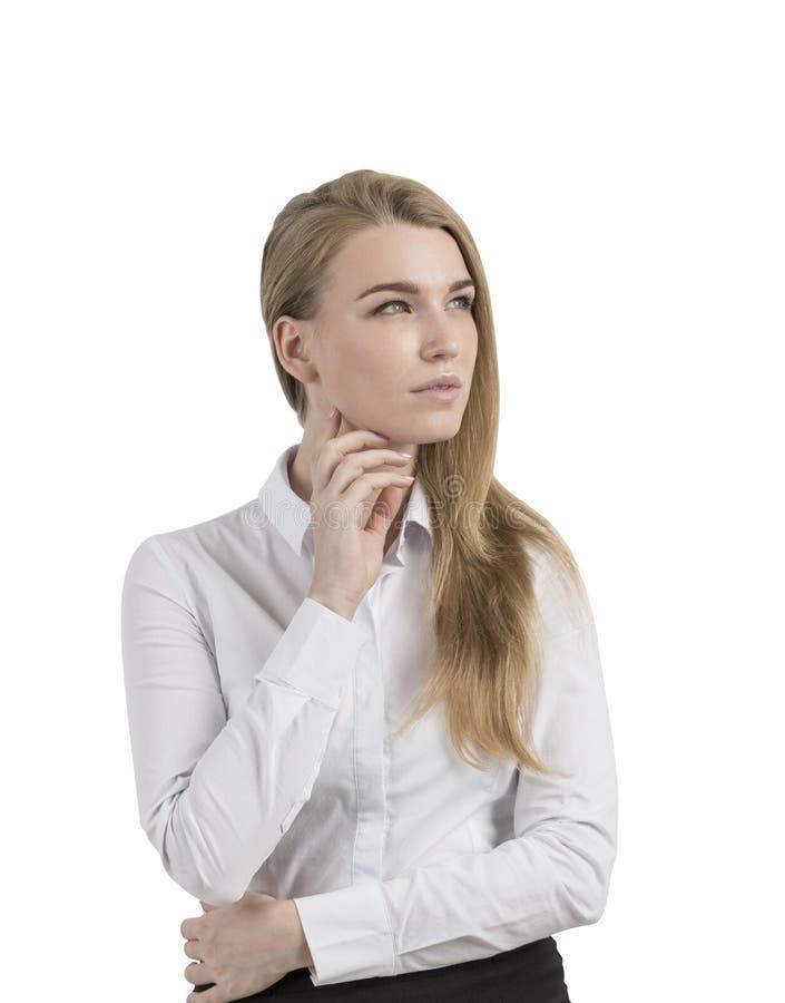Zadumana blond kobieta odizolowywająca zdjęcia royalty free