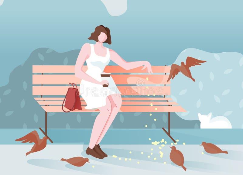 Zadumana dziewczyna w parku Siedzi kreskówkę i Karmi ptakom ilustracja wektor