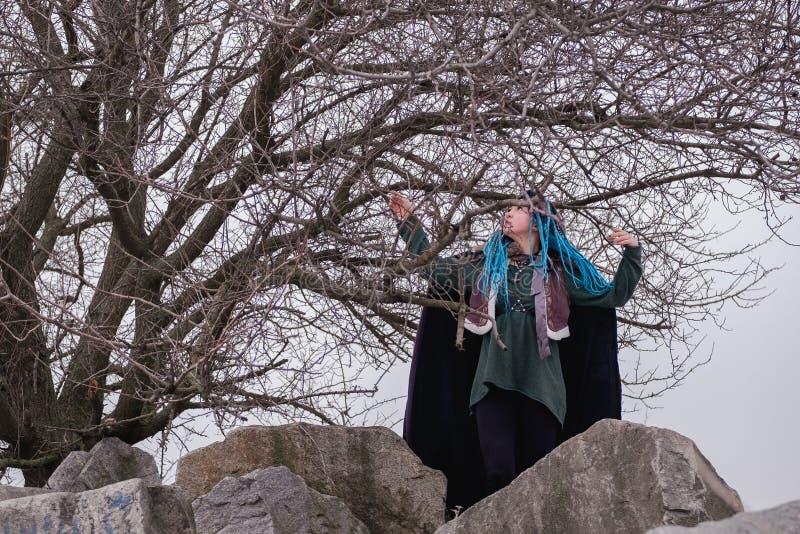 Zadumana dziewczyna z błękitnymi włosianymi dreadlocks w drewnach na skałach Kobieta Viking wśród drzew marzy w odległość i spojr zdjęcia stock
